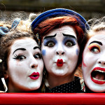 "Edinburgh Fringe Festival 2015 ...Performers (left to right) Fleur Tooth, Florence O'Mahony and Rosalind Hoy from the Human Zoo Theatre Company, on the Royal Mile in Edinburgh, advertise their act ""The Girl Who Fell In love With The Moon"" which is on at the  Pleasance Dome, ahead of the Edinburgh Fringe Festival which starts tomorrow and lasts till the 31st of August. PRESS ASSOCIATION Photo. Picture date: Thursday August 6, 2015. Photo credit should read: Andrew Milligan/PA Wire"
